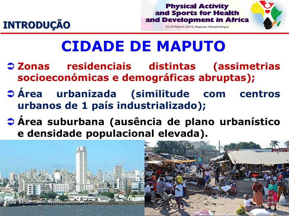 INTRODUÇÃO CIDADE DE MAPUTO Zonas residenciais distintas (assimetrias socioeconómicas e demográficas abruptas); Área urbanizada (similitude com centro
