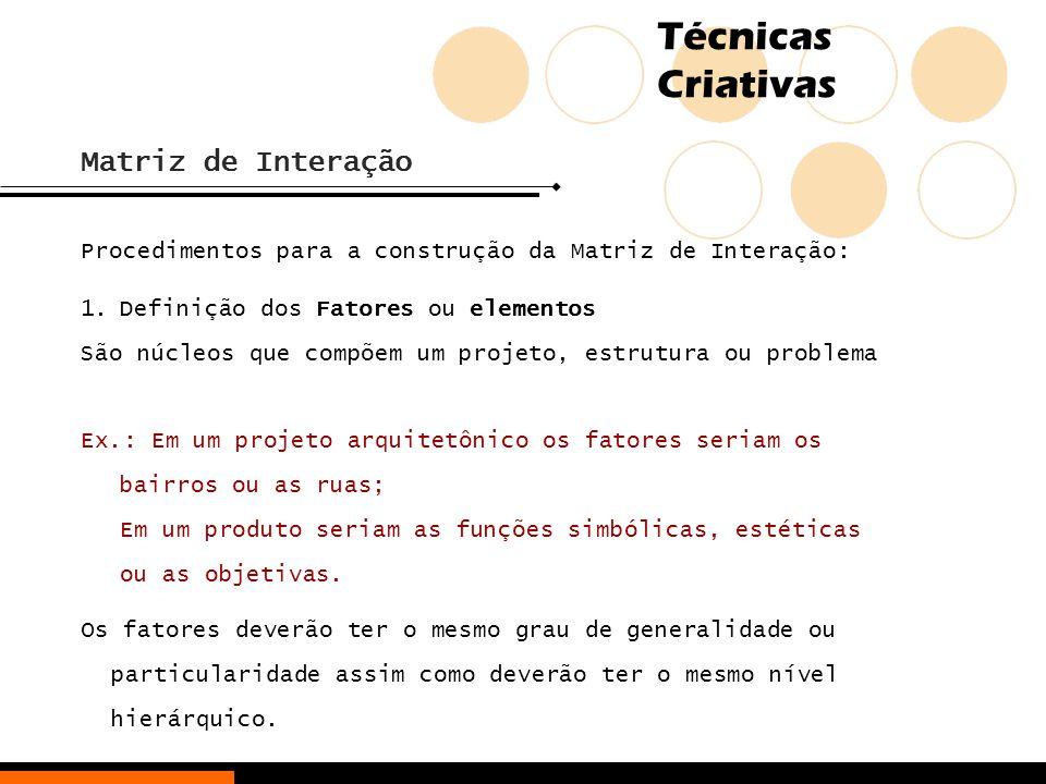 Técnicas Criativas Matriz de Interação Procedimentos para a construção da Matriz de Interação: 1.Definição dos Fatores ou elementos São núcleos que co