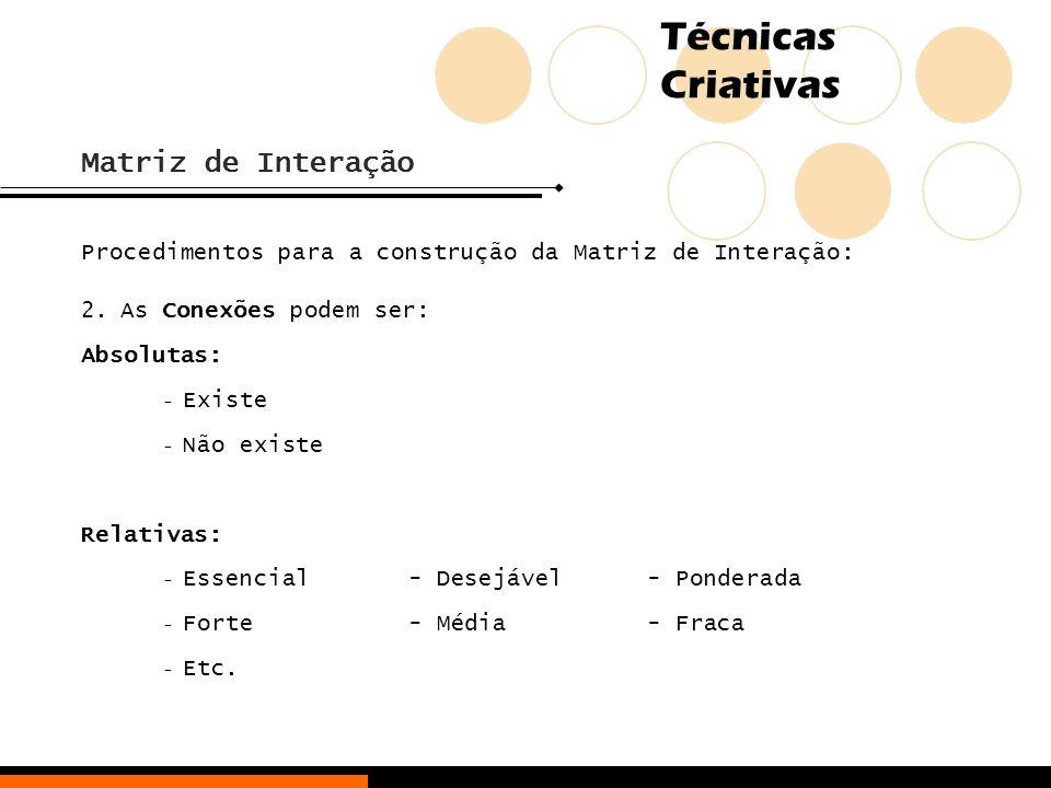 Técnicas Criativas Matriz de Interação Procedimentos para a construção da Matriz de Interação: 2.As Conexões podem ser: Absolutas: - Existe - Não exis