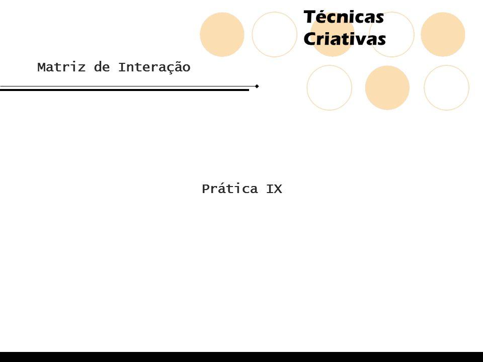 Técnicas Criativas Prática IX Matriz de Interação