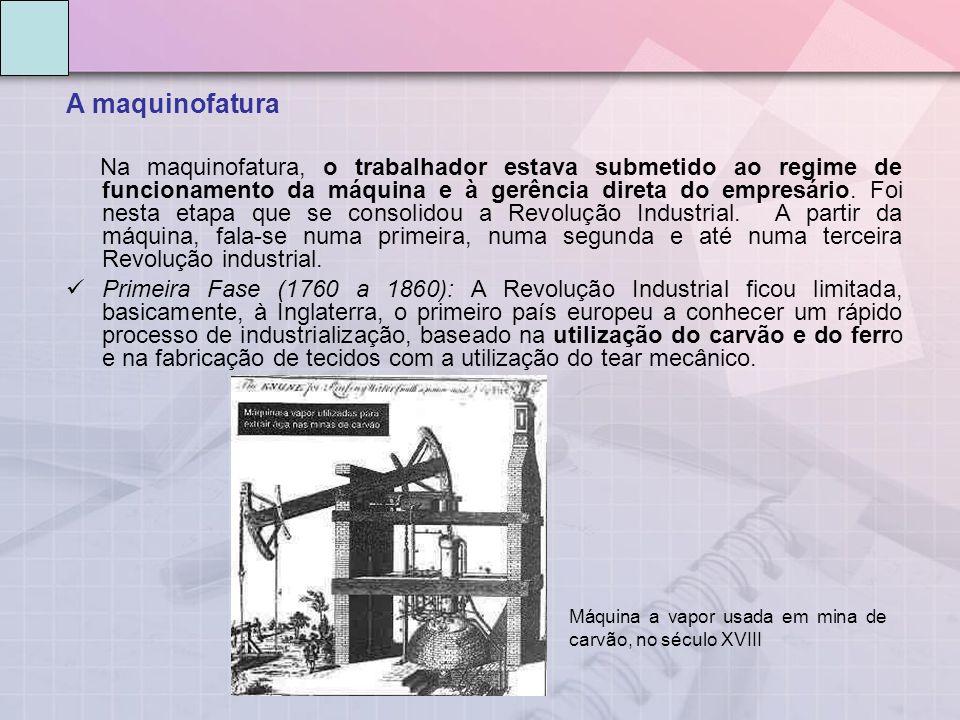 A maquinofatura Na maquinofatura, o trabalhador estava submetido ao regime de funcionamento da máquina e à gerência direta do empresário.