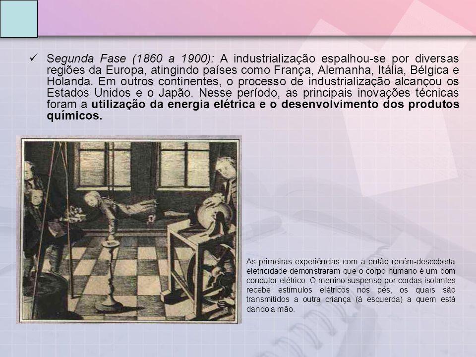 Segunda Fase (1860 a 1900): A industrialização espalhou-se por diversas regiões da Europa, atingindo países como França, Alemanha, Itália, Bélgica e Holanda.