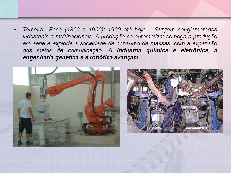 Terceira Fase (1860 a 1900): 1900 até hoje – Surgem conglomerados industriais e multinacionais. A produção se automatiza; começa a produção em série e