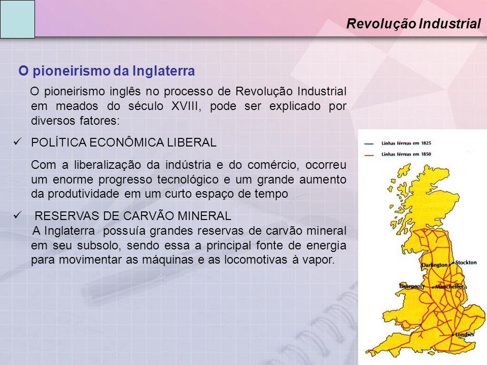 O pioneirismo da Inglaterra Revolução Industrial O pioneirismo inglês no processo de Revolução Industrial em meados do século XVIII, pode ser explicad
