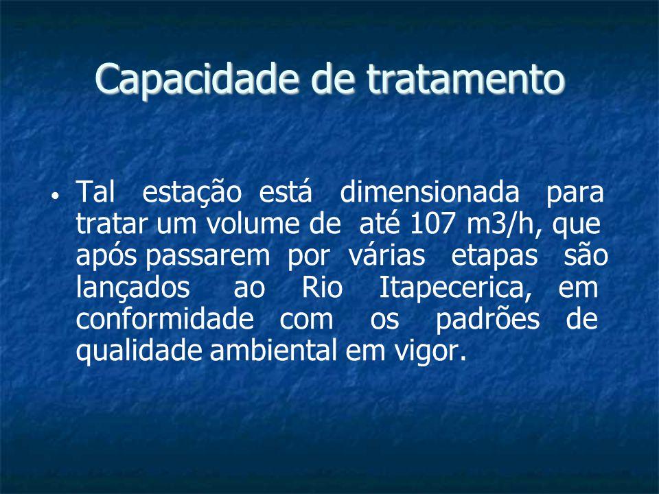 Capacidade de tratamento Tal estação está dimensionada para tratar um volume de até 107 m3/h, que após passarem por várias etapas são lançados ao Rio