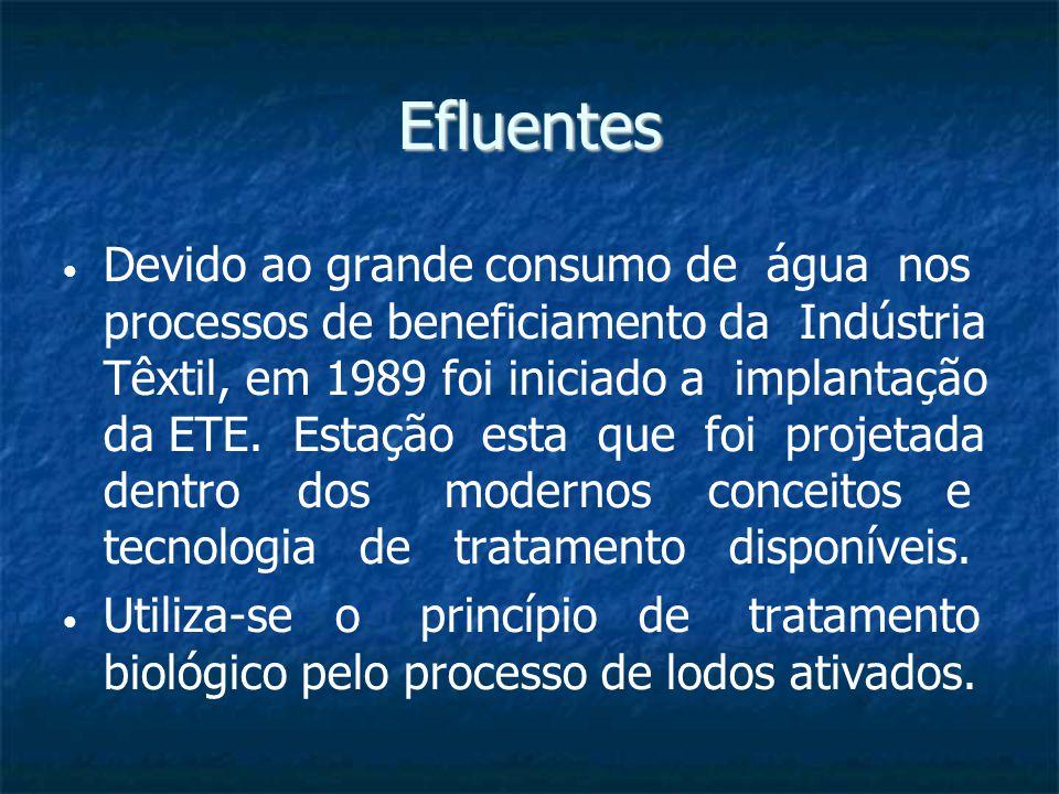 Efluentes Devido ao grande consumo de água nos processos de beneficiamento da Indústria Têxtil, em 1989 foi iniciado a implantação da ETE. Estação est