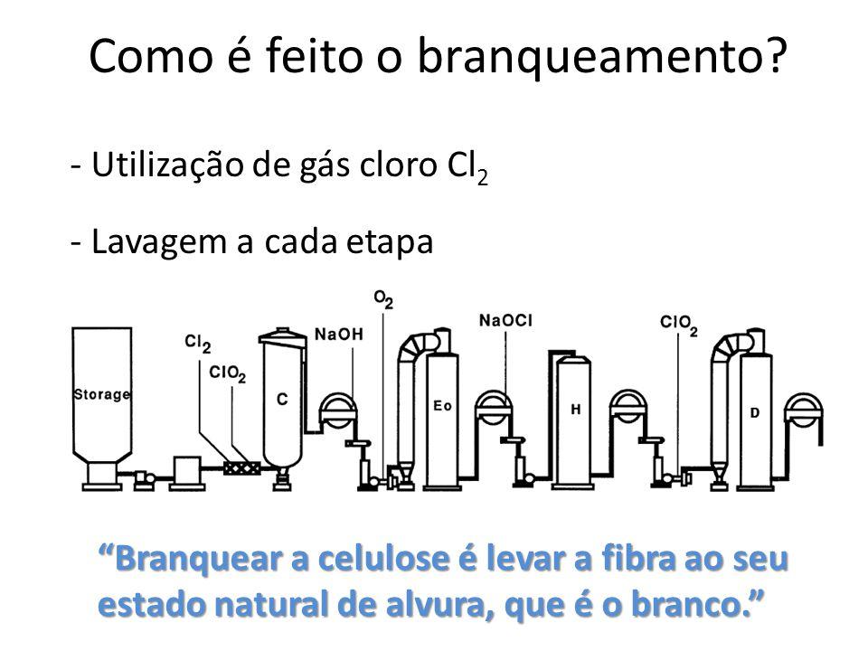 Como é feito o branqueamento? - Utilização de gás cloro Cl 2 - Lavagem a cada etapa Branquear a celulose é levar a fibra ao seu estado natural de alvu