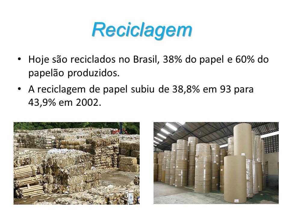 Hoje são reciclados no Brasil, 38% do papel e 60% do papelão produzidos. A reciclagem de papel subiu de 38,8% em 93 para 43,9% em 2002. Reciclagem