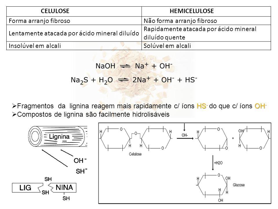 CELULOSEHEMICELULOSE Forma arranjo fibrosoNão forma arranjo fibroso Lentamente atacada por ácido mineral diluído Rapidamente atacada por ácido mineral