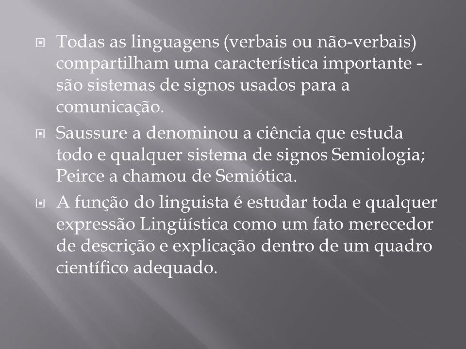 Todas as linguagens (verbais ou não-verbais) compartilham uma característica importante - são sistemas de signos usados para a comunicação. Saussure a