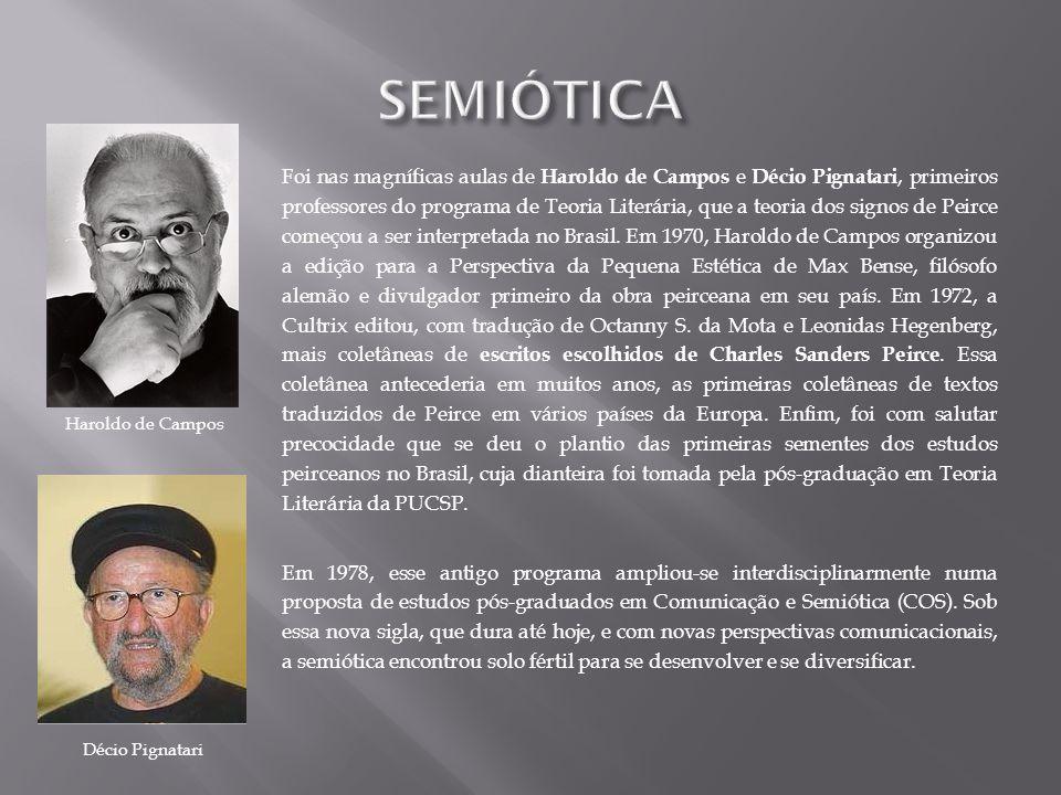 Foi nas magníficas aulas de Haroldo de Campos e Décio Pignatari, primeiros professores do programa de Teoria Literária, que a teoria dos signos de Pei
