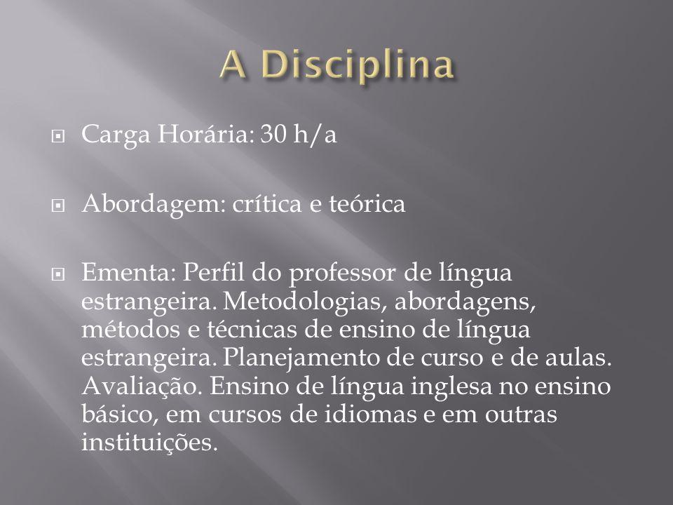 Carga Horária: 30 h/a Abordagem: crítica e teórica Ementa: Perfil do professor de língua estrangeira. Metodologias, abordagens, métodos e técnicas de