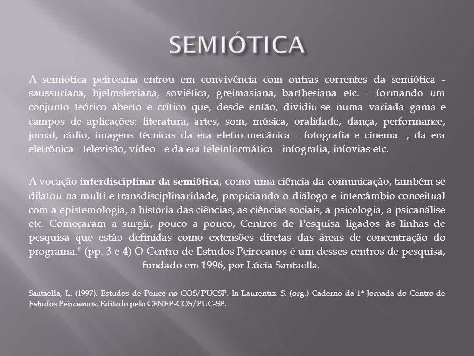 A semiótica peirceana entrou em convivência com outras correntes da semiótica - saussuriana, hjelmsleviana, soviética, greimasiana, barthesiana etc. -