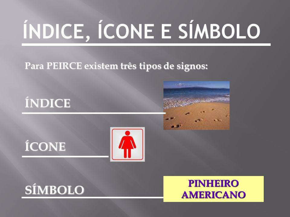 ÍNDICE, ÍCONE E SÍMBOLO Para PEIRCE existem três tipos de signos: ÍNDICEÍCONESÍMBOLO PINHEIRO AMERICANO
