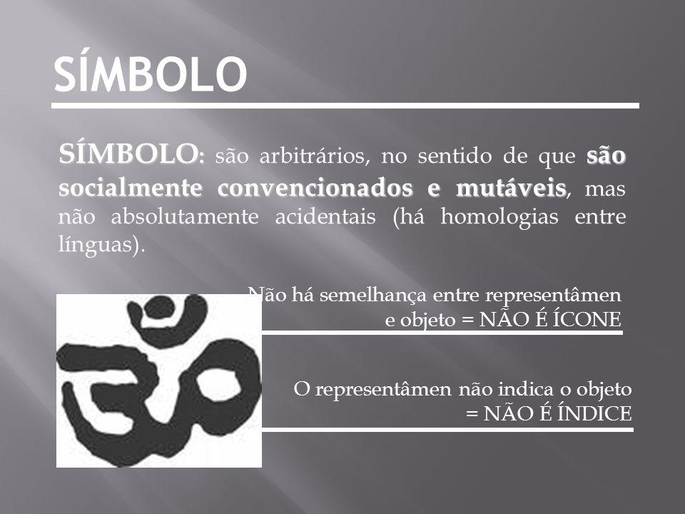 SÍMBOLO SÍMBOLO : são socialmente convencionados e mutáveis SÍMBOLO : são arbitrários, no sentido de que são socialmente convencionados e mutáveis, ma