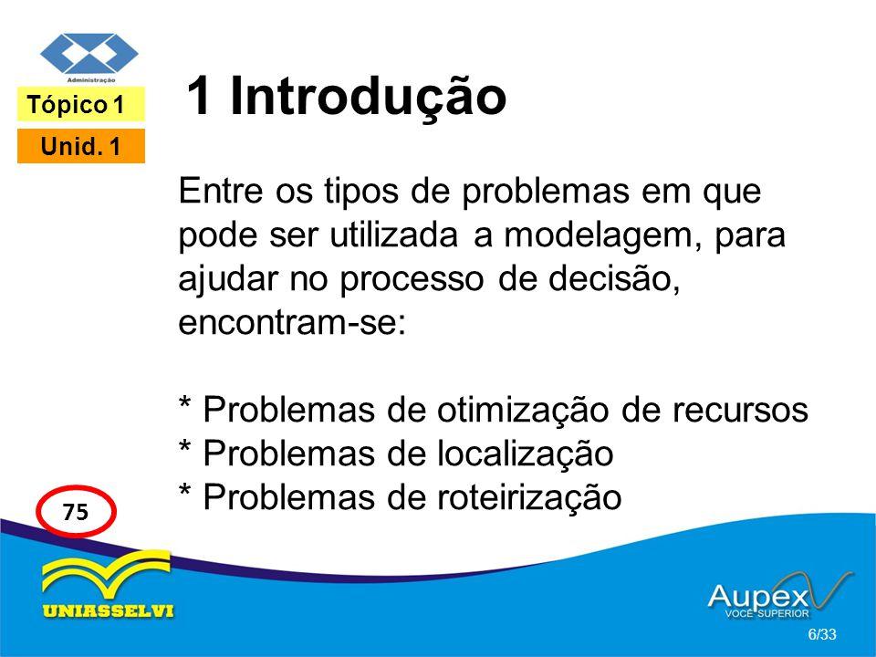 1 Introdução Entre os tipos de problemas em que pode ser utilizada a modelagem, para ajudar no processo de decisão, encontram-se: * Problemas de otimi