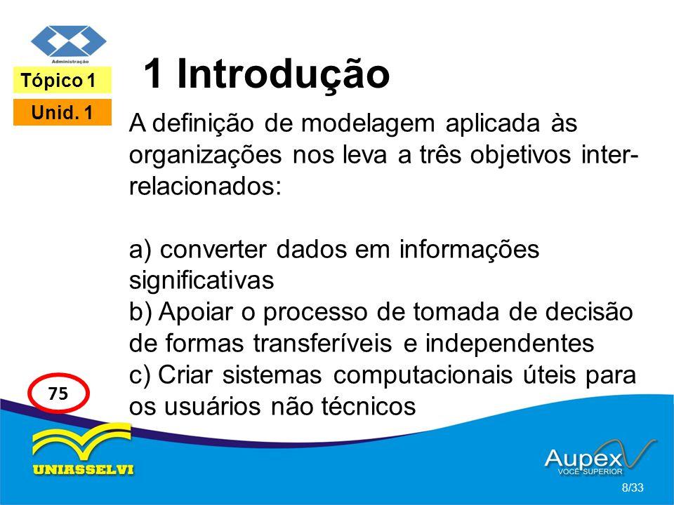 1 Introdução A definição de modelagem aplicada às organizações nos leva a três objetivos inter- relacionados: a) converter dados em informações signif