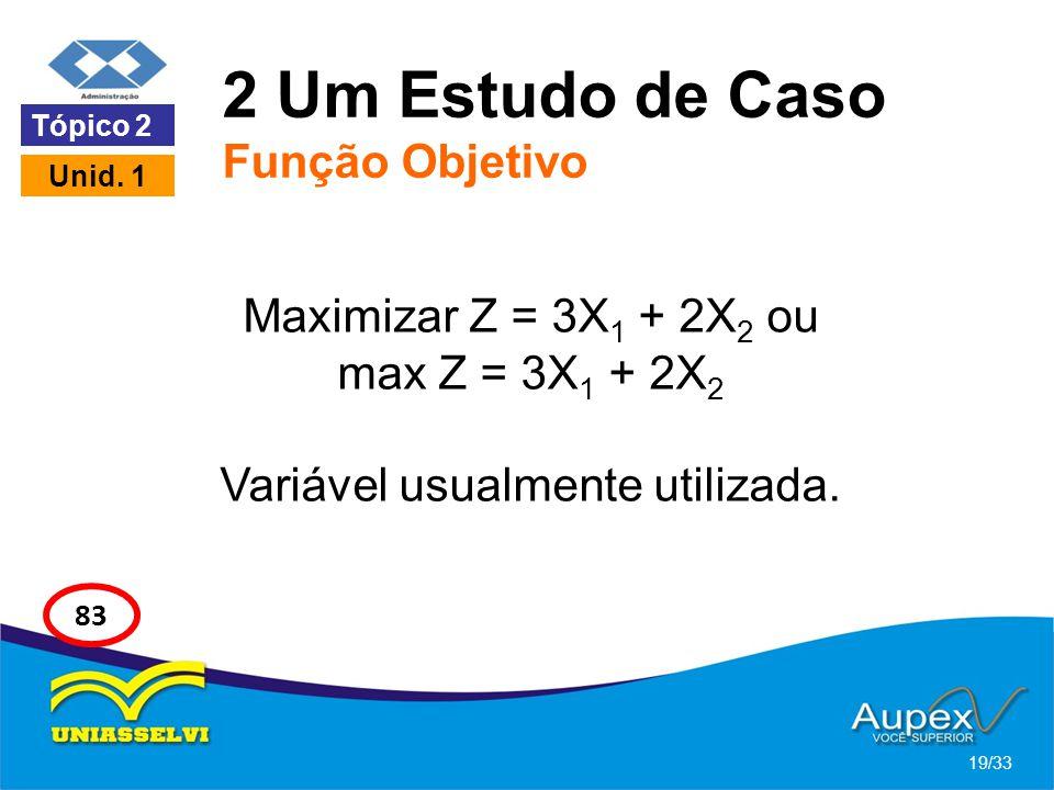 2 Um Estudo de Caso Função Objetivo Maximizar Z = 3X 1 + 2X 2 ou max Z = 3X 1 + 2X 2 Variável usualmente utilizada. 19/33 Tópico 2 Unid. 1 83