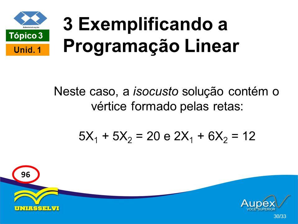 3 Exemplificando a Programação Linear Neste caso, a isocusto solução contém o vértice formado pelas retas: 5X 1 + 5X 2 = 20 e 2X 1 + 6X 2 = 12 30/33 T