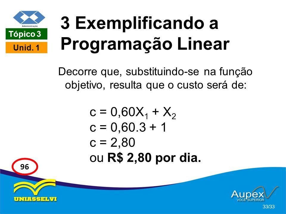 3 Exemplificando a Programação Linear Decorre que, substituindo-se na função objetivo, resulta que o custo será de: 33/33 Tópico 3 Unid. 1 96 c = 0,60