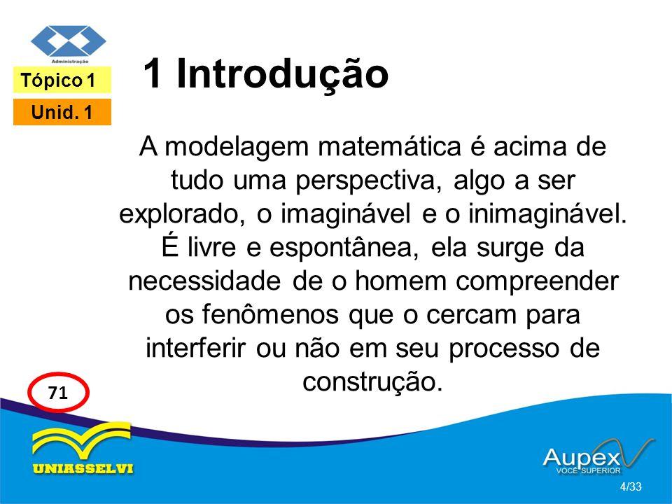 1 Introdução A modelagem matemática é acima de tudo uma perspectiva, algo a ser explorado, o imaginável e o inimaginável. É livre e espontânea, ela su