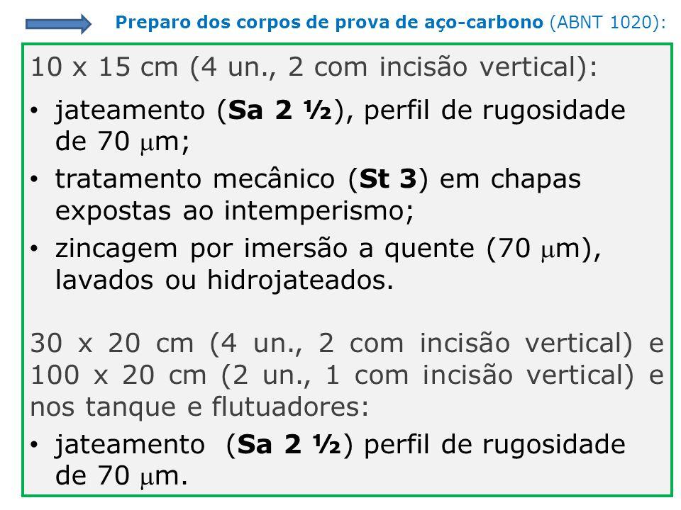 10 x 15 cm (4 un., 2 com incisão vertical): jateamento (Sa 2 ½), perfil de rugosidade de 70 m; tratamento mecânico (St 3) em chapas expostas ao intemp