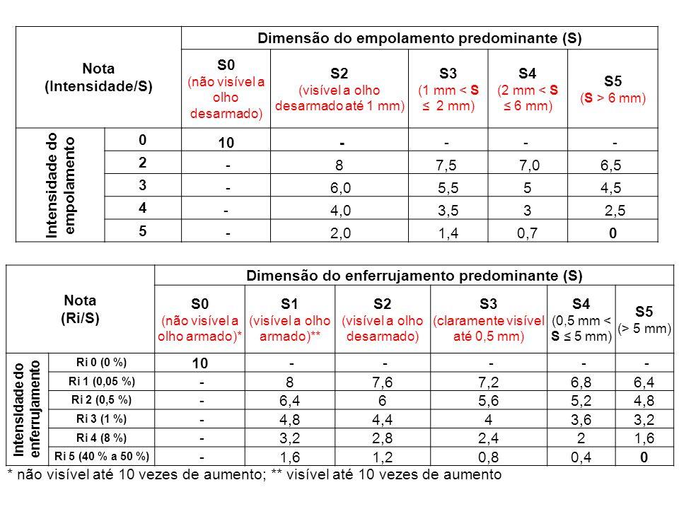 Nota (Intensidade/S) Dimensão do empolamento predominante (S) S0 (não visível a olho desarmado) S2 (visível a olho desarmado até 1 mm) S3 (1 mm < S 2