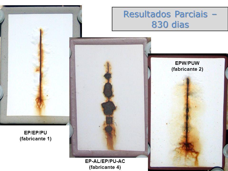 EP-AL/EP/PU-AC (fabricante 4) EP/EP/PU (fabricante 1) Resultados Parciais – 830 dias EPW/PUW (fabricante 2)