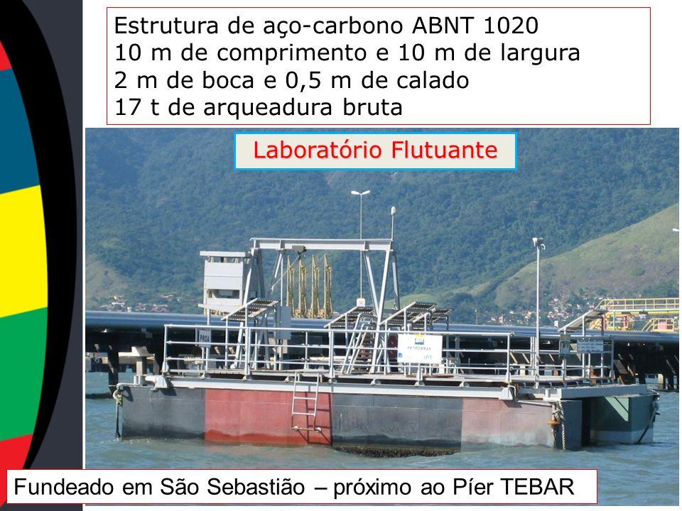 Estrutura de aço-carbono ABNT 1020 10 m de comprimento e 10 m de largura 2 m de boca e 0,5 m de calado 17 t de arqueadura bruta Fundeado em São Sebast