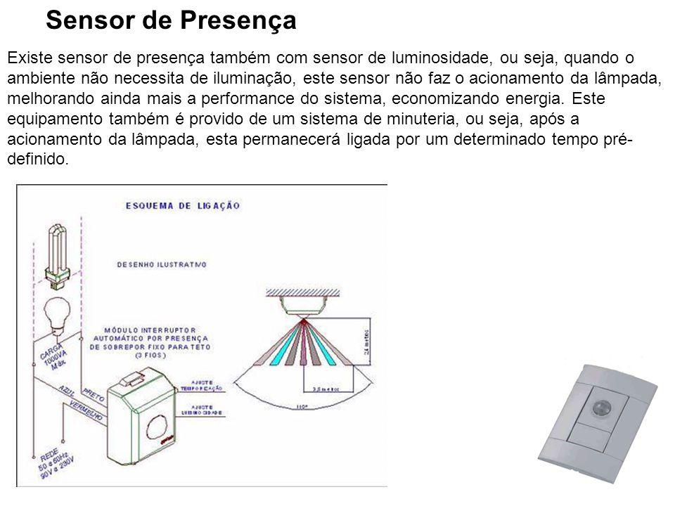 28 Sensor de Presença Existe sensor de presença também com sensor de luminosidade, ou seja, quando o ambiente não necessita de iluminação, este sensor