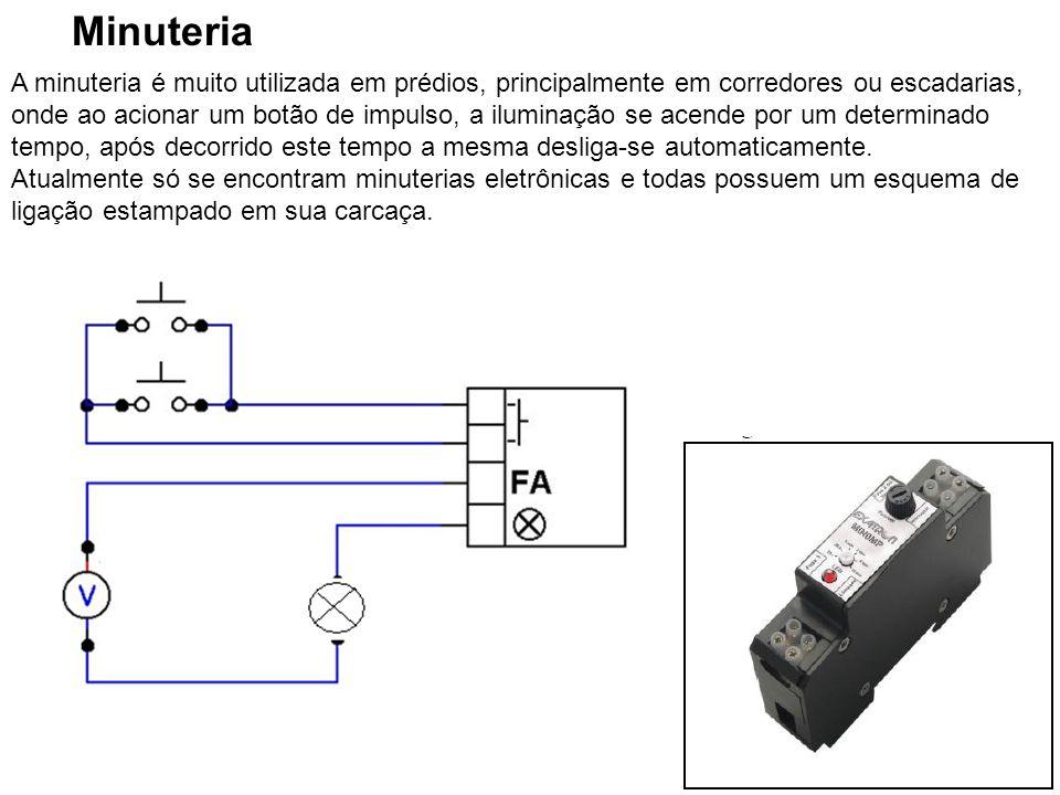 29 Minuteria A minuteria é muito utilizada em prédios, principalmente em corredores ou escadarias, onde ao acionar um botão de impulso, a iluminação s