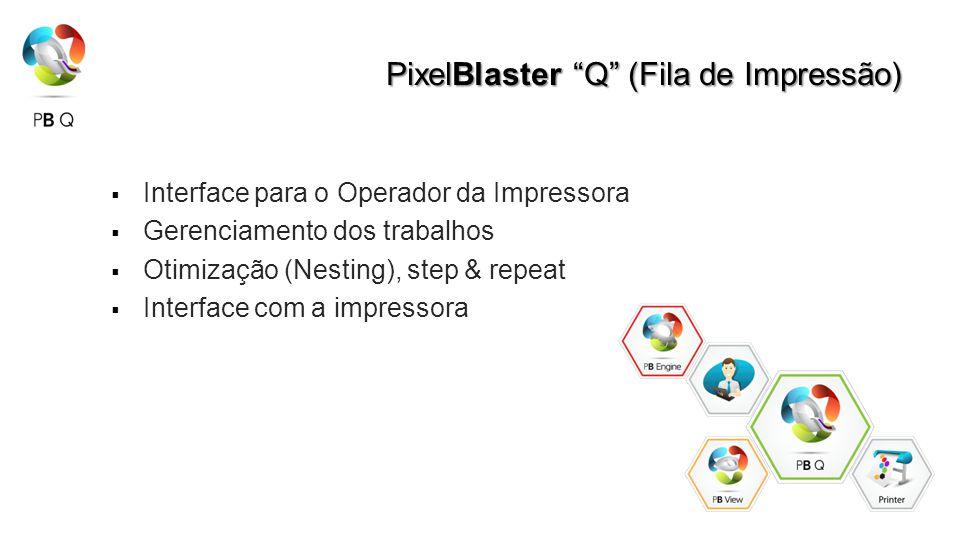 PixelBlaster Q (Fila de Impressão) Interface para o Operador da Impressora Gerenciamento dos trabalhos Otimização (Nesting), step & repeat Interface com a impressora