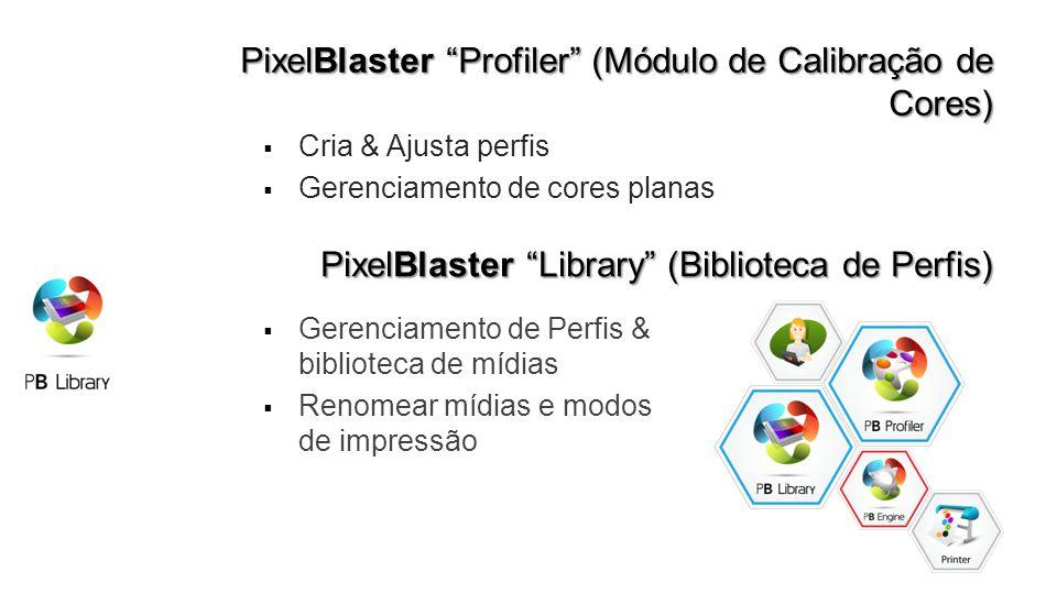 PixelBlaster Profiler (Módulo de Calibração de Cores) Cria & Ajusta perfis Gerenciamento de cores planas PixelBlaster Library (Biblioteca de Perfis) Gerenciamento de Perfis & biblioteca de mídias Renomear mídias e modos de impressão