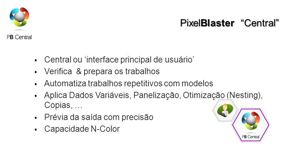 PixelBlaster Central Central ou interface principal de usuário Verifica & prepara os trabalhos Automatiza trabalhos repetitivos com modelos Aplica Dados Variáveis, Panelização, Otimização (Nesting), Copias, … Prévia da saída com precisão Capacidade N-Color