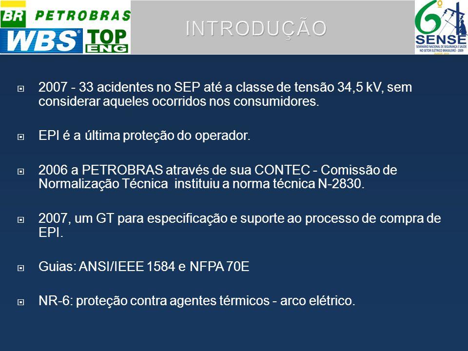 2007 - 33 acidentes no SEP até a classe de tensão 34,5 kV, sem considerar aqueles ocorridos nos consumidores.