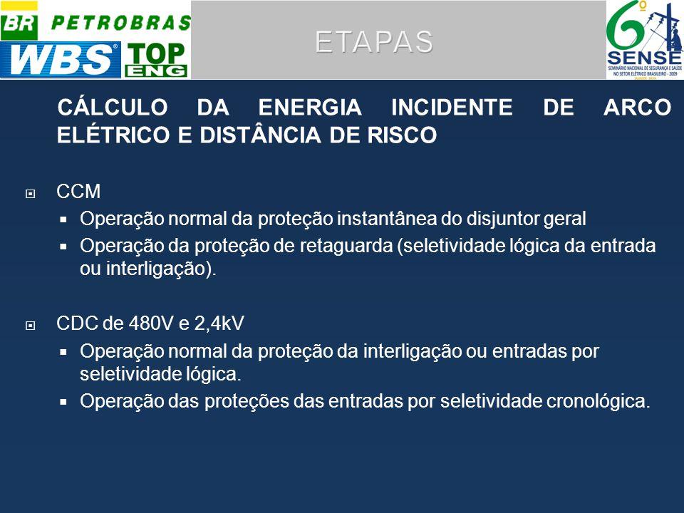 CÁLCULO DA ENERGIA INCIDENTE DE ARCO ELÉTRICO E DISTÂNCIA DE RISCO CCM Operação normal da proteção instantânea do disjuntor geral Operação da proteção de retaguarda (seletividade lógica da entrada ou interligação).