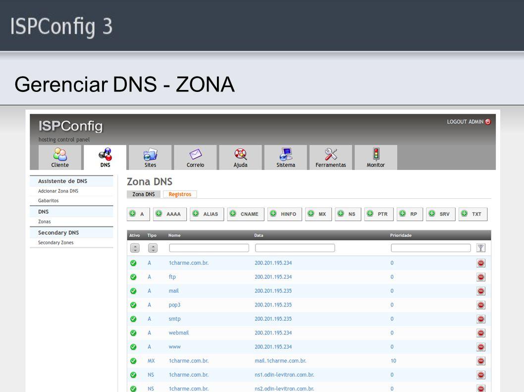 Gerenciar DNS - ZONA