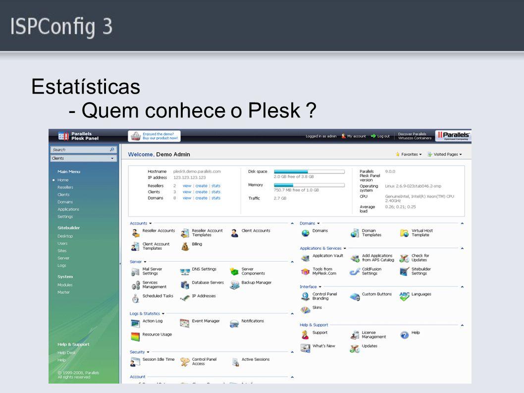 Estatísticas - Quem conhece o Plesk ?