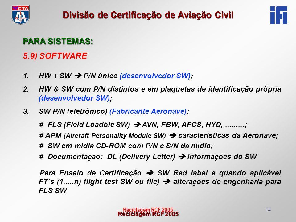 Reciclagem RCF 2005 Divisão de Certificação de Aviação Civil Reciclagem RCF 200514 PARA SISTEMAS: 5.9) SOFTWARE 1.HW + SW P/N único (desenvolvedor SW)