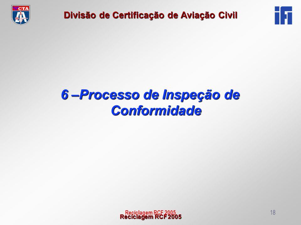 Reciclagem RCF 2005 Divisão de Certificação de Aviação Civil Reciclagem RCF 200518 6 –Processo de Inspeção de Conformidade