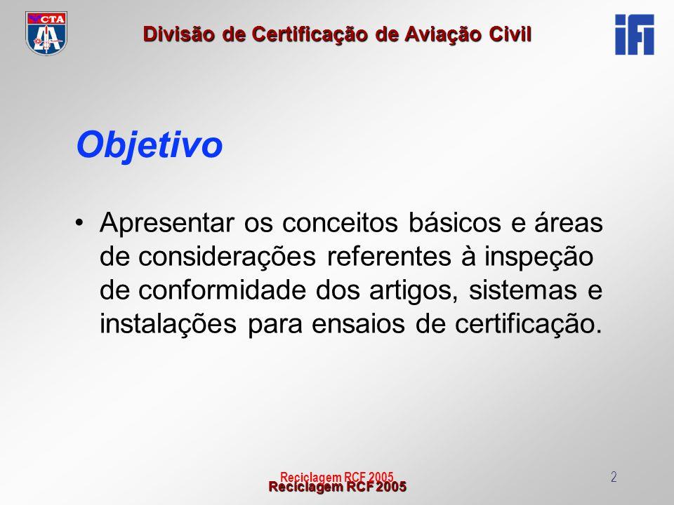 Reciclagem RCF 2005 Divisão de Certificação de Aviação Civil Reciclagem RCF 200513 PARA SISTEMAS: 5.8) PARTES PRODUZIDAS PREVIAMENTE Verificar se há CLA ou Certificado de Conformidade (conforme caso).