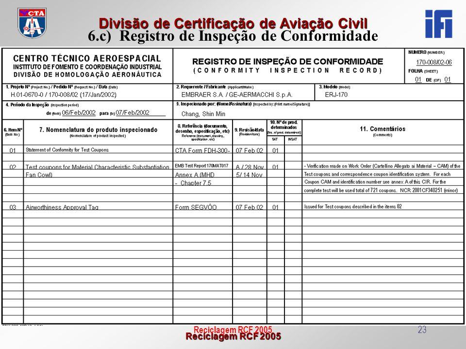 Reciclagem RCF 2005 Divisão de Certificação de Aviação Civil Reciclagem RCF 200523 6.c) Registro de Inspeção de Conformidade