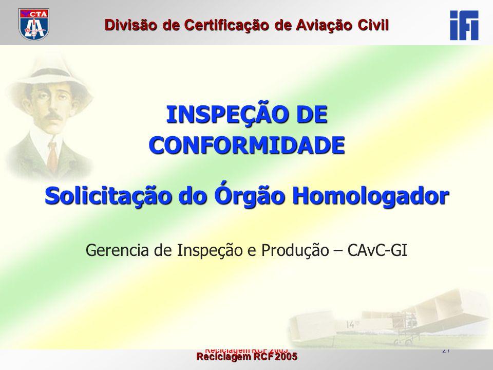 Reciclagem RCF 2005 Divisão de Certificação de Aviação Civil Reciclagem RCF 200527 INSPEÇÃO DE CONFORMIDADE Solicitação do Órgão Homologador Gerencia