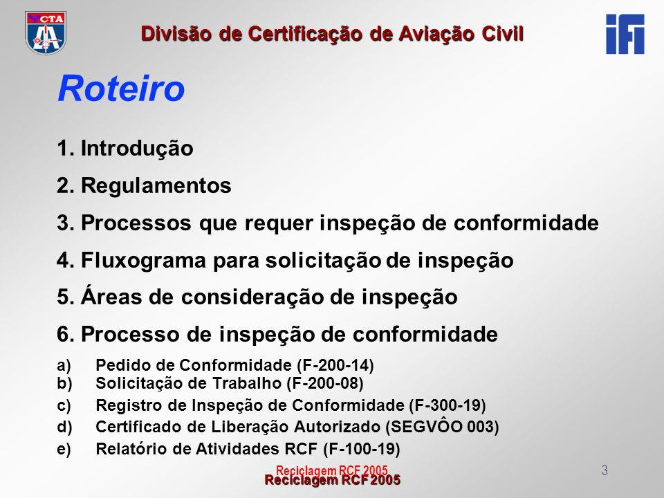 Reciclagem RCF 2005 Divisão de Certificação de Aviação Civil Reciclagem RCF 20054 TIPOS DE INSPEÇÃO - Aeronave- gabilidade - Protótipos /ensaio de certificação - Artigo: Peça de reposição -ANV: CAARF (recém fabricadas) CAE (Exportação) -ANV: CAVE (Experimental) AEV (Especial) - Ensaio Solo: -CDP -Set-up - Ensaio Vôo: Artigos/Sistemas incorporados na ANV 1 - Introdução 183.31 (d) 183.31 (a) 183.31 (c) 183.31 (b) 183.31 (e) - Outras atividades solicitadas pelo órgão homologador