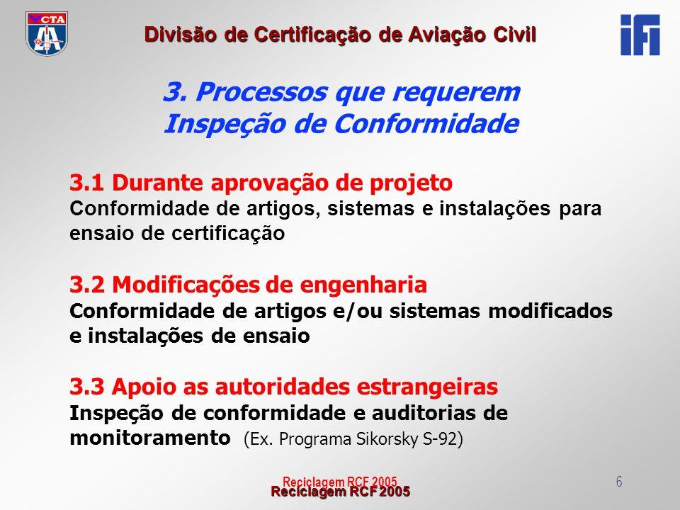 Reciclagem RCF 2005 Divisão de Certificação de Aviação Civil Reciclagem RCF 200517 PARA INSTALAÇÕES DE ENSAIO: 5.10) Ferramentais, RIG, Iron Bird e instrumentação Registros evidenciam inspeções que foram realizadas, de acordo com as especificações técnicas de projeto para ensaio.