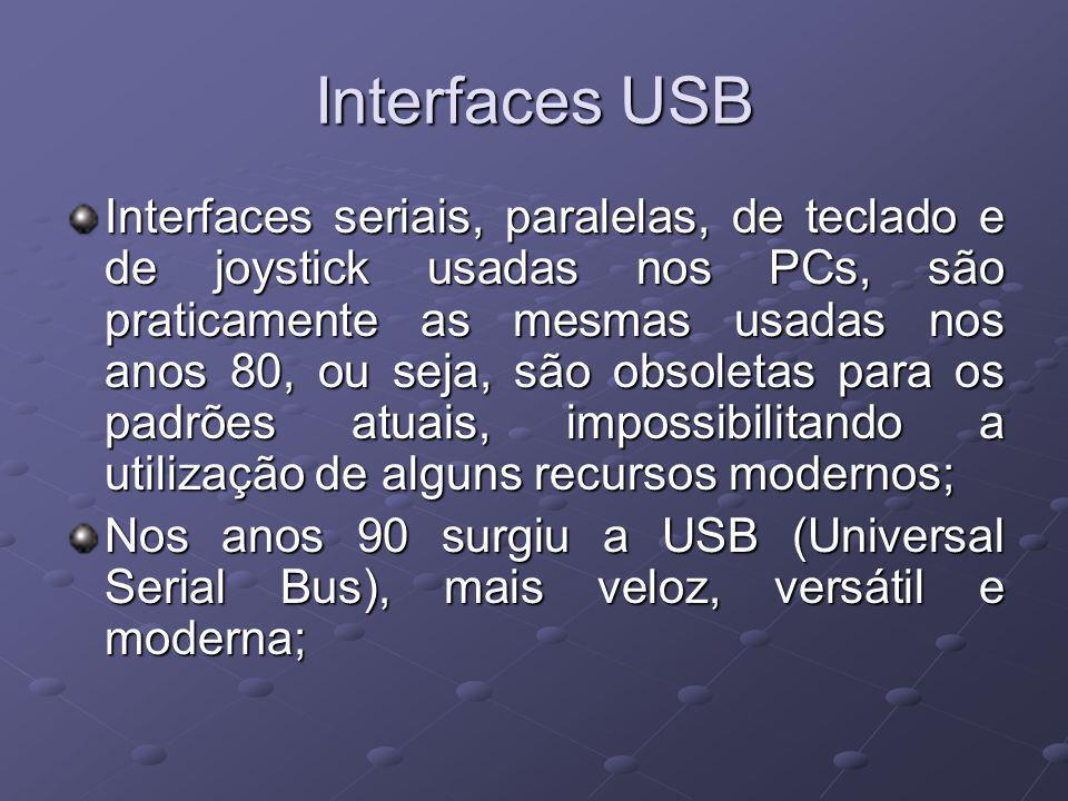 Interfaces USB Interfaces seriais, paralelas, de teclado e de joystick usadas nos PCs, são praticamente as mesmas usadas nos anos 80, ou seja, são obsoletas para os padrões atuais, impossibilitando a utilização de alguns recursos modernos; Nos anos 90 surgiu a USB (Universal Serial Bus), mais veloz, versátil e moderna;