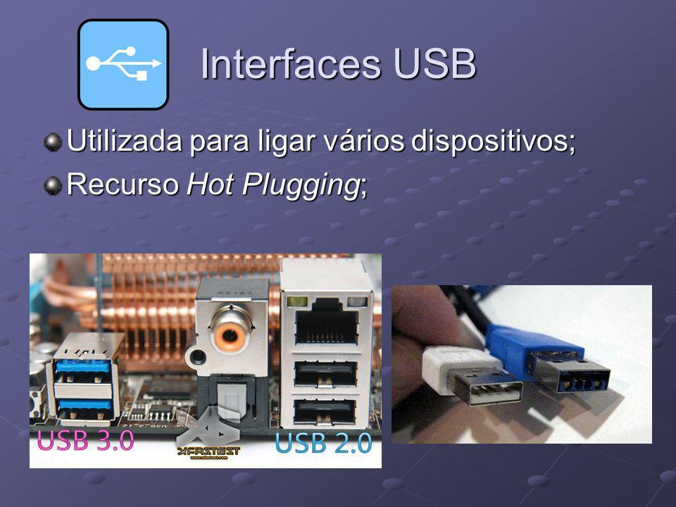 Interfaces USB Utilizada para ligar vários dispositivos; Recurso Hot Plugging;