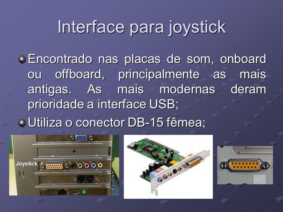 Interface para joystick Encontrado nas placas de som, onboard ou offboard, principalmente as mais antigas. As mais modernas deram prioridade a interfa
