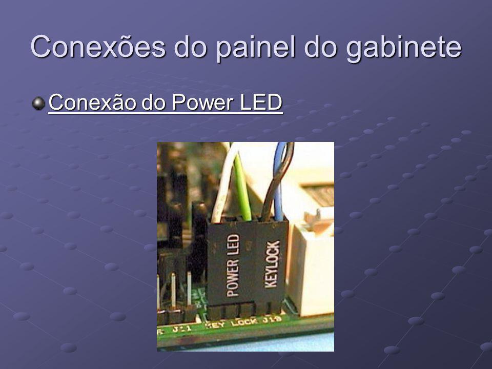Conexões do painel do gabinete Conexão do Power LED