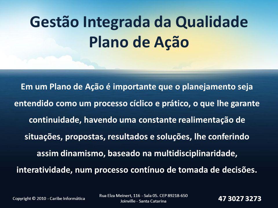 Copyright © 2010 - Caribe Informática Rua Elza Meinert, 116 - Sala 05. CEP 89218-650 Joinville - Santa Catarina 47 3027 3273 Gestão Integrada da Quali